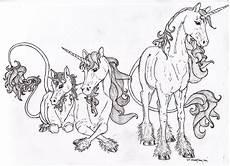 unicorn family lineart by almalphia on deviantart