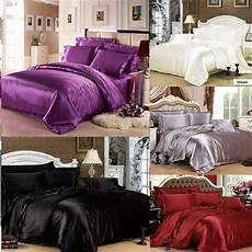 sheet covers 7pc silk satin duvet cover silky bedding fitted sheet 4 pillow cases cushion ebay