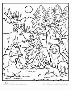 color the forest worksheet education