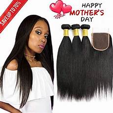 Amazon Com 3 Part Lace Closure Straight With Brazilian Virgin Human Hair Straight 3 Bundles With Lace