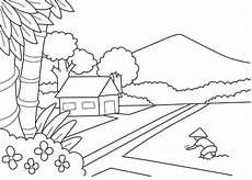 4 Langkah Menggambar Dan Mewarnai Pemandangan Alam Di
