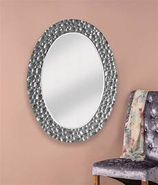 stunning silver ripple large framed decorative oval mirror
