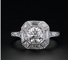 Deco Vintage Inspired Octogon Engagement Ring Bague