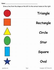 4 free shapes matching worksheets for preschool kindergarten supplyme