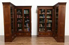 sold pair 1890 mahogany library corner bookcases glass doors disassemble harp gallery