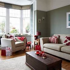 grey and red festive living room traditional christmas decorating ideas ideal home beige and