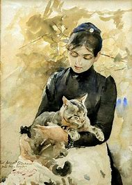 Picasso Painting Woman with Cat
