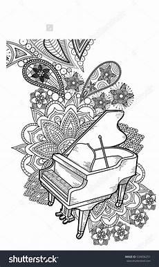 Mandala Malvorlagen Musik Piano Doodle Vector Mandala Musik Klavier