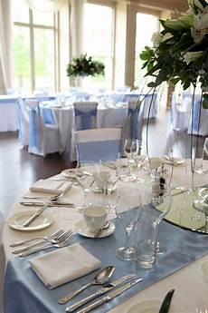 sky blue table runner and sashes stubton hall