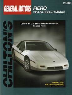 small engine service manuals 1988 pontiac fiero spare parts catalogs 1984 1988 pontiac fiero all models chilton s total car care manual