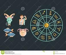 Zodiac Signs Flat Set Of Horoscope Symbols Collection