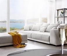 big sofa hellgrau big sofa violetta 310x135 cm hellgrau creme mit hocker