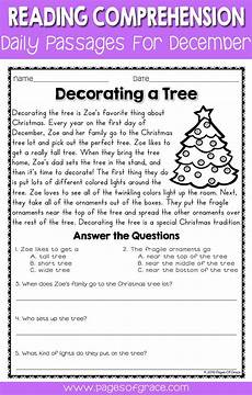 winter reading comprehension worksheets 3rd grade 20182 reading comprehension passages and questions for december with images reading comprehension