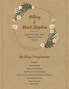 rustic wedding program template in adobe photoshop illustrator microsoft word publisher