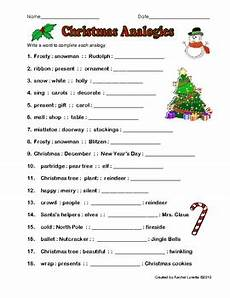 free christmas analogy worksheet with answer key by