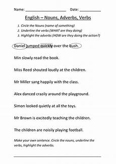 worksheet nouns verbs and adverbs teaching resources