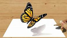 Schmetterling 3d - 3d colored pencil drawing of butterfly speed draw