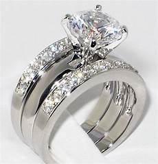 solitaire wedding ring sets 3 37 ct cz solitaire bridal engagement wedding 3 piece ring size 10 ebay