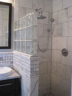 shower ideas for bathroom glass block half wall home design ideas pictures remodel