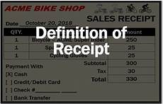 what is a receipt definition and exles market