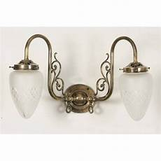 victorian replica gas wall light with pineapple etched glass shades
