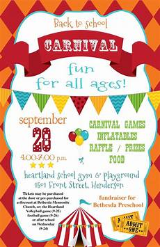 mark your calendars for the back to school carnival poster heartlandbeat