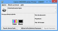 niveau d encre imprimante canon manuels pixma mg3500 series contr 244 le du niveau