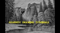 how to draw a landscape with mountains trees water graphite pencil drawing youtube