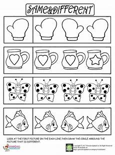 easy same and different worksheet