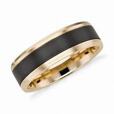 satin finish wedding ring in black titanium and 14k yellow