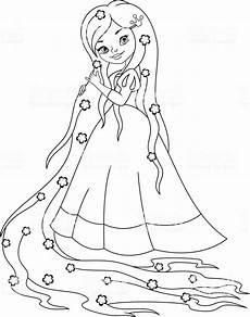 Ausmalbilder Prinzessin Rapunzel Malvorlagen Prinzessin Rapunzel Stock Vektor Und Mehr