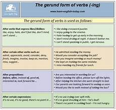the gerund form of verbs english learn site