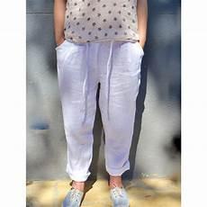 pantalon pur large blanc pour femme taille haute