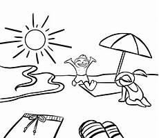 kostenlose malvorlage sommer kinder am strand zum ausmalen