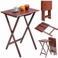 set of 4 portable wood tv table folding tray desk serving