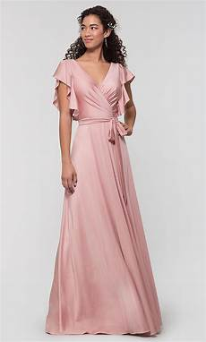 kleinfeld faux wrap long jersey bridesmaid dress