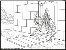 and drawbridge colouring page