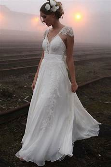 elegant summer beach wedding dresses 2017 cap sleeve lace long chiffon bridal gowns 2017