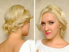 curly updo for medium long hair tutorial with headband