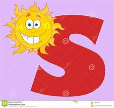 sun lettere happy smiling sun with letters s stock vector