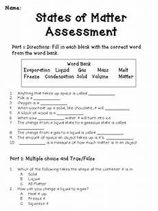 states of matter assessment with answer key by katie