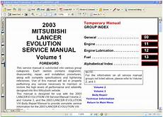 automotive service manuals 2003 mitsubishi lancer evolution transmission control mitsubishi lancer evolution 2003