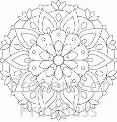 2 flower mandala printable coloring page