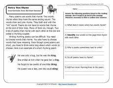 poem worksheets for 5th grade 25464 poetry uses rhyme 2nd grade reading comprehension reading comprehension worksheets
