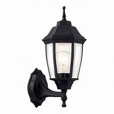hton bay 1 light black dusk to dawn outdoor wall lantern sconce bpp1611 blk the home depot