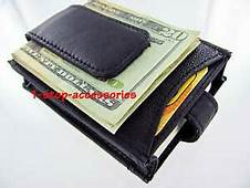 Black Genuine Leather Magnetic Money Clip ID Business