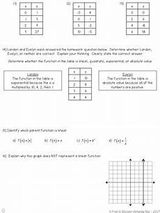 linear v nonlinear functions notes and practice differentiated