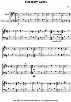 coventry carol sheet music for violin cello duet 8notes com