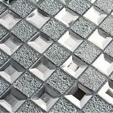 Kitchen Backsplash Tile Mesh by Mirrored Glass Mosaic Tile 1x1 Chips Silver Shape