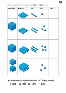 place value worksheets year 4 tes 5357 dienes 4 digits la by claireroberts25 teaching resources tes